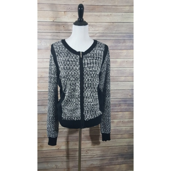 9dd10cd221 OLIVE +OAK Black White Long Sleeve Zip Up cardigan